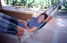 California Native's Ellen Klein relaxes in a hammock at a jungle resort.